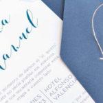 invitacion de boda acuarela azul  navy