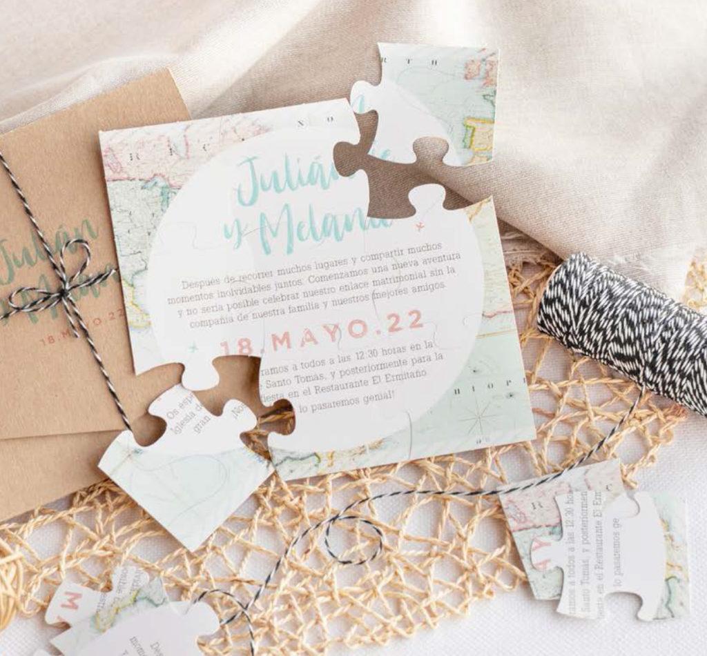 invitacion de boda puzzle barata