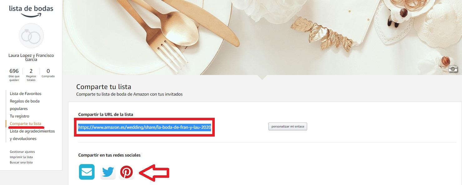 enviar link de lista de bodas a invitados
